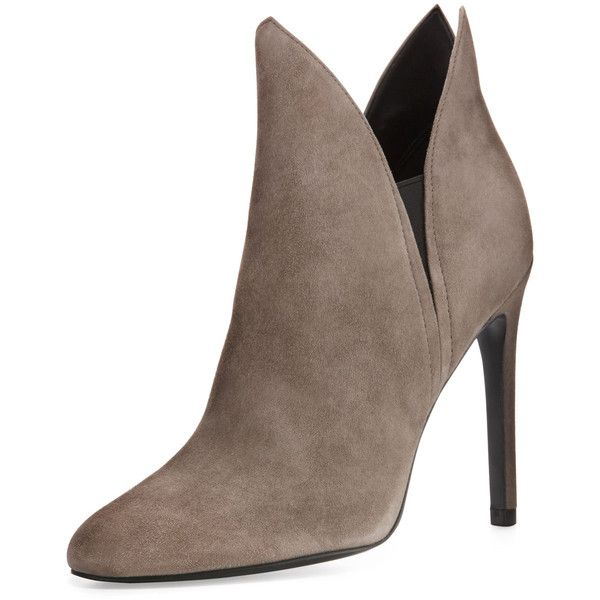 Kendall + Kylie Madison Winged Suede Bootie (2.464.890 IDR) ❤ liked on Polyvore featuring shoes, boots, ankle booties, taupe, taupe suede bootie, suede ankle boots, taupe ankle boots, high heel boots and suede boots