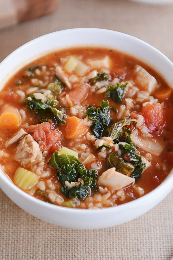 Turkey {or Chicken} Brown Rice Soup - Instant Pot or stovetop | Mel's Kitchen Cafe