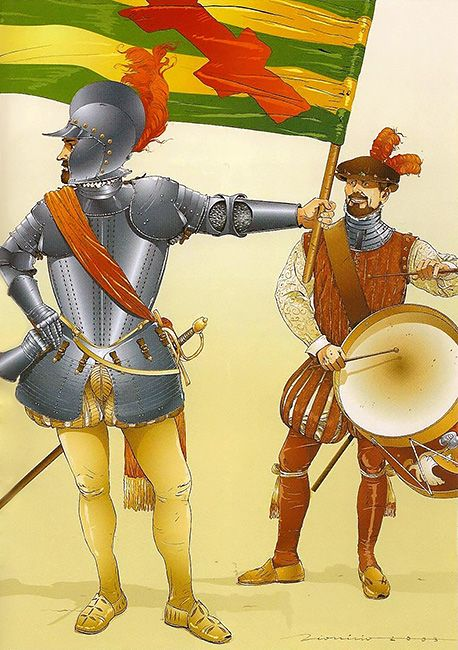 Spanish flag bearer and drummer Battle of Lepanto, October 7, 1571.  (Oddly enought, I once lived in a small town called Lepanto, Arkansas).