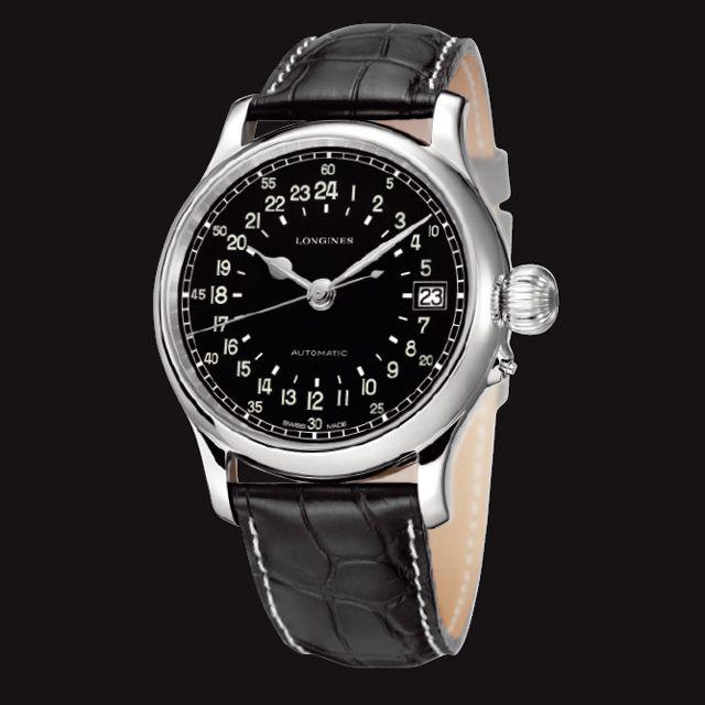 ロンジンの「トゥエンティフォーワーズ」革ベルトの腕時計 ブランド