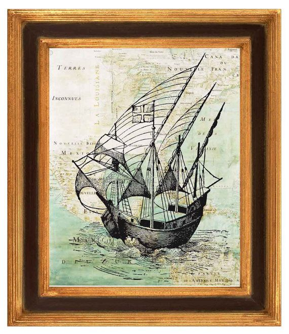 Old Pirate ship on antique map of East Coast by PrintLand