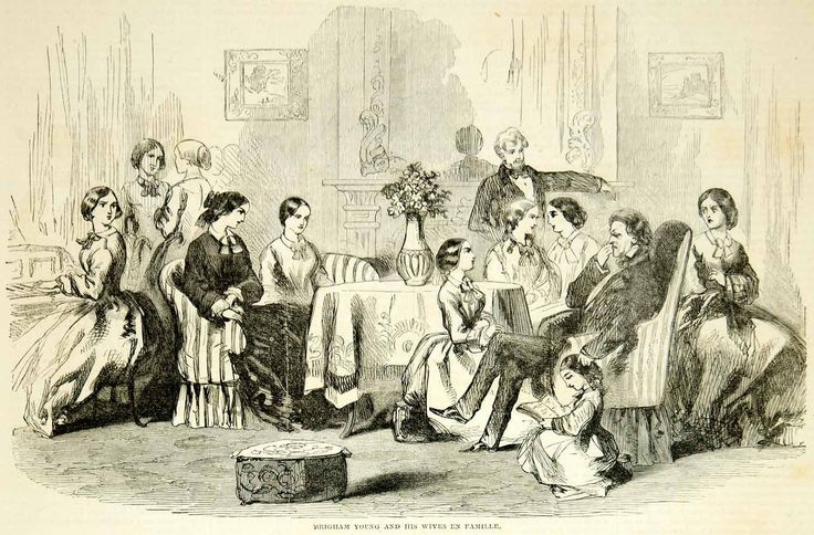 1857 Wood Engraving Mormon Polygamy Brigham Young Wives Latter Day Saint YHW1
