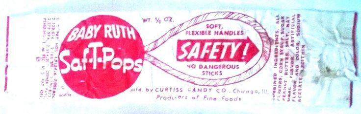 Vintage Original 1930's Baby Ruth Saf-T-Pops Lollipop Candy Wrapper #BABYRUTH