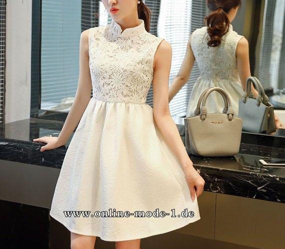 A Linie Sommerkleid in Weiß mit Stehkragen