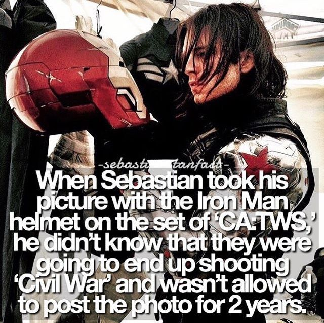 That's a long time to wait to post a photo. Sebastian Stan and the long-delayed Iron Man helmet.
