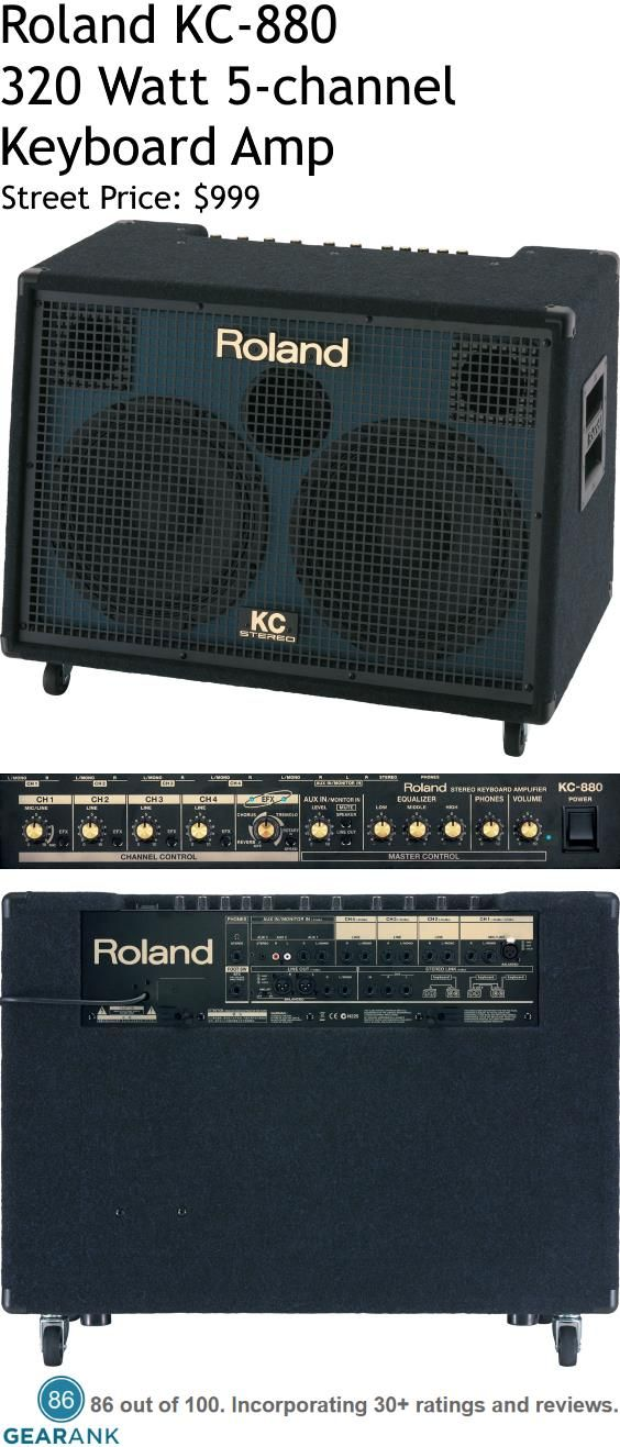 Roland KC-880. This is a 320-Watt 5-Channel Keyboard Amplifier which is used for keyboards and also electronic drums.  Some people even use it as a small PA system.
