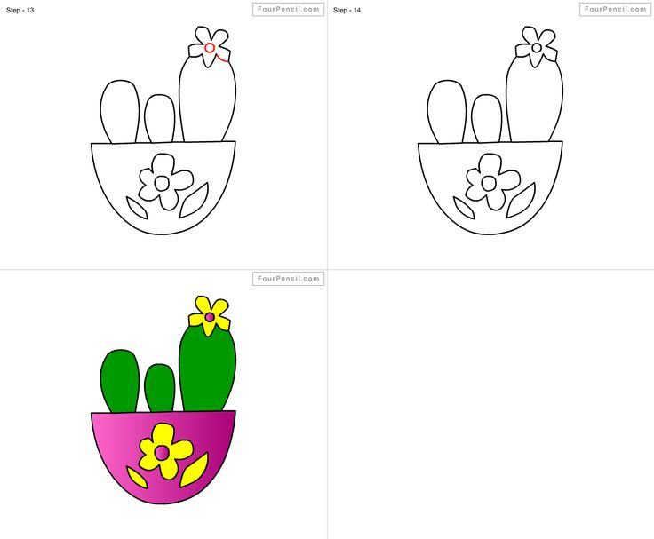 how to draw cactus for kids step by step drawing tutorial. Black Bedroom Furniture Sets. Home Design Ideas