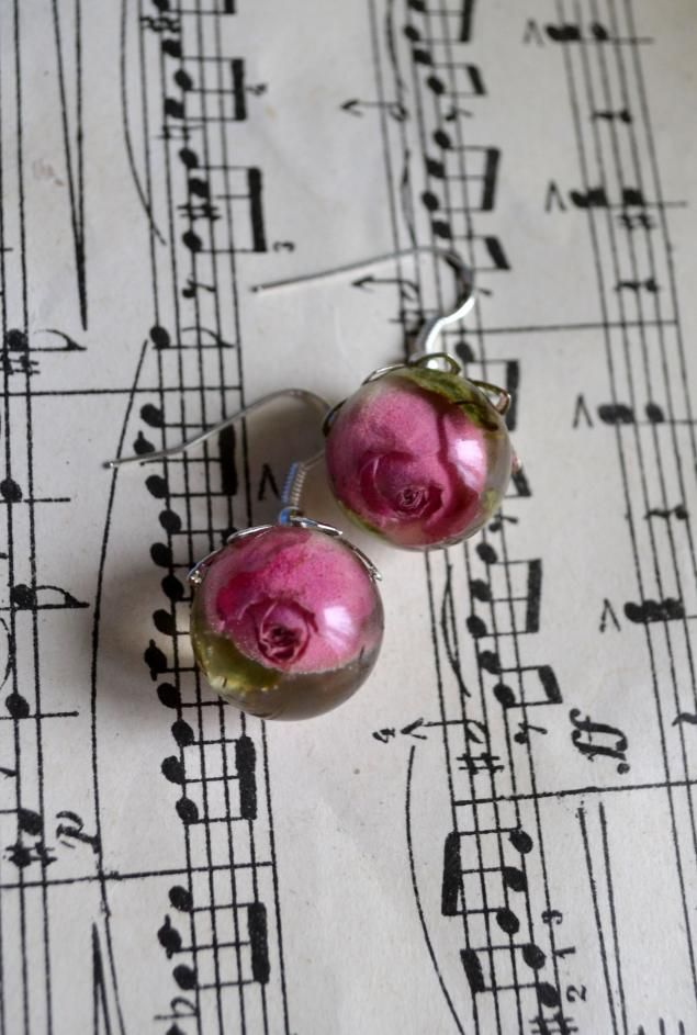 Master Class earrings sphere Rose of epoxy resin - Fair Masters - handmade, handmade