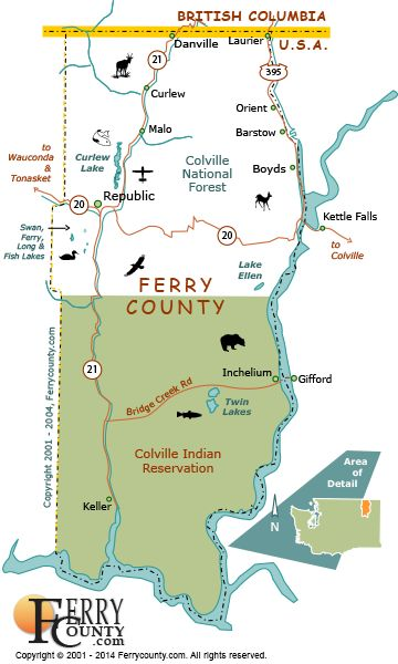Map Of Ferry County Wa For Entertainment Purposes Not To Scale