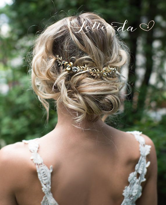 This unique gold tone hair vine, flower crown or hair wrap is a lovely finishing touch for the boho chic bride. Brushed gold tone metal flowers and bright gold pearl encrusted leaves set with clear crystals throughout on a bendable wire. HOW TO WEAR: - In the back as shown - secure with bobby pins (not included), no ribbon required. - As a headband with removable ribbon ties (indicate ribbon tie color at checkout). - With or without a veil (not included) Measures 8.75 long with 3/4 w...