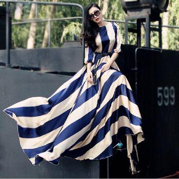 Высокое качество новинка 2015 женские классические элегантные полосатый принт свободного покроя макси платье Большой размер длинное платье