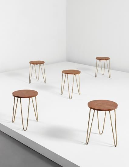 PHILLIPS : NY050414, Balkrishna Doshi and Le Corbusier, Set of five stools, model no. LC-AH-10-A, from the Office of the Secretary General of the Mill Owners' Association Building, Ahmedabad