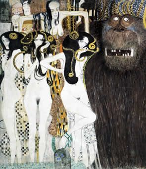 Klimt's interpretation of the Gorgons, from Greek Mythology