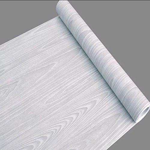 SimpleLife4U Light Gray Wood Grain Contact Paper Self Adh…