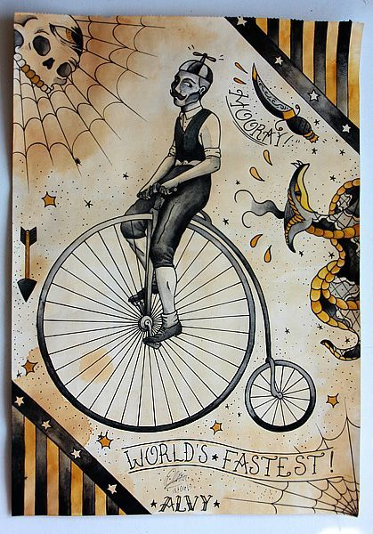Penny farthing traditional tattoo | Traditional tattoo ...
