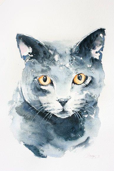 Cat portrait custom portrait original watercolour painting