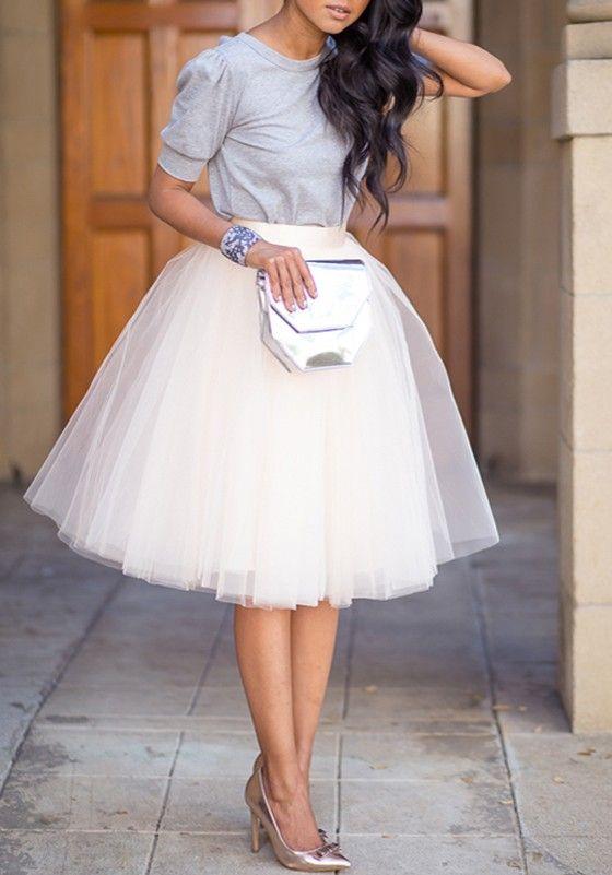 Weiß drapierte Grenadine Frauen Puffy Damen Mode Süße tüllrock weiss