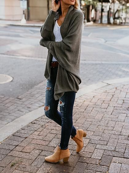 Incredibly Army Green Oversize Casual Cardigan