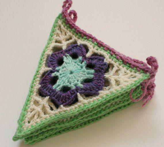 Spring Crochet Bunting Granny Chic Garland Purple by EadenYarns, £20.00