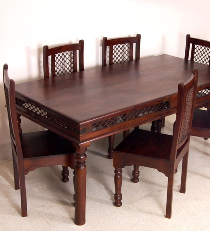Sheesham wood dining set with set of six chairs funky for Latest wooden dining table