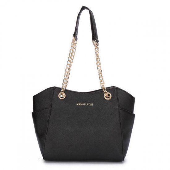 Michael Kors Chelsea Two-Tone Medium Black Shoulder Bag