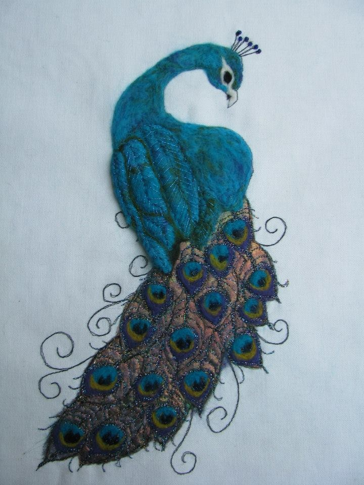 Peacock picture....needle felted using merino wools and silk fibres. hand and machine stitching.  https://www.facebook.com/photo.php?fbid=299725103463703=a.299724976797049.48205.115078045261744=1