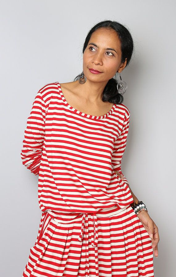 Striped dress -  Long Sleeve Maxi Dress - Red and Cream Dress : Autumn Thrills Collection No.1 (Best Seller)