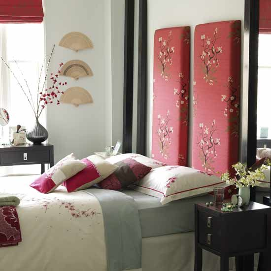 Oriental style bedroom with beautiful silk headboards