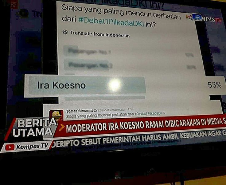 My tweet about Ira Koesno as a debate moderator on Twitter @sahatsimarmata was covered by Berita Utama KompasTV, on January 15, 2017.