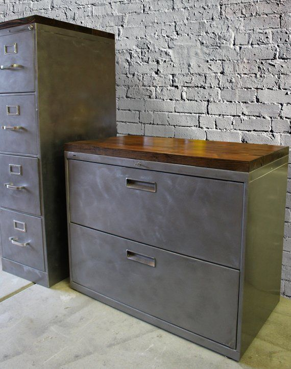 Refinished Metal Filing Cabinet 30 36 Or 42 Etsy Office Storage Cabinets Rustic Office Storage Metal Filing Cabinet