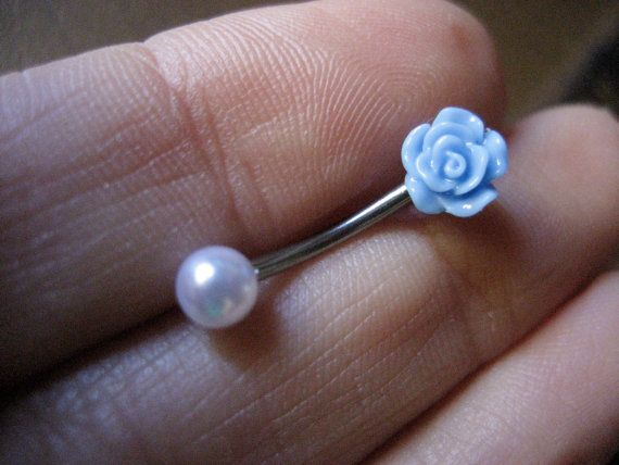www.azeetadesigns.etsy.com 16 Gauge Tiny Pearl Rose Rook Eyebrow Piercing Ring Ear Earring Stud Jewelry Bar Barbell Dusty Light Baby Blue