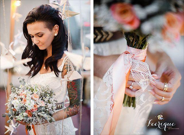 Свадьба для двоих на крыше, образ невесты, букет невесты