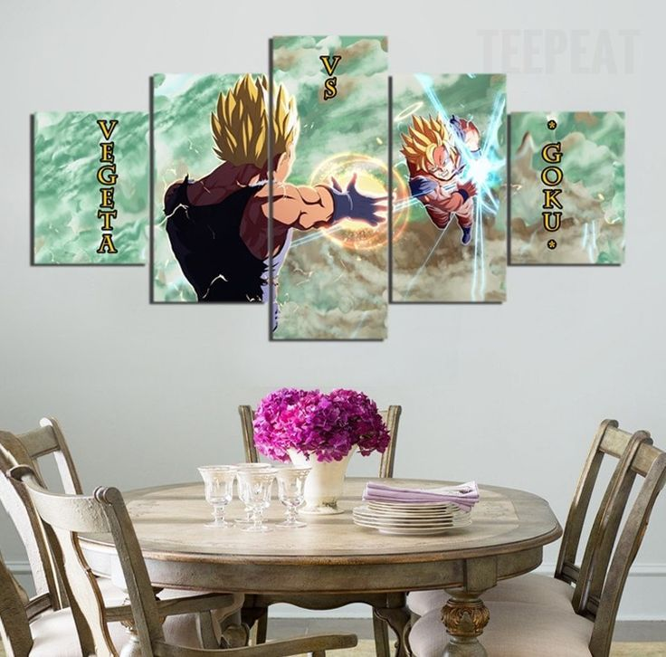 Vegeta Vs Goku The Battle of Super Sayan - 5 Piece Canvas