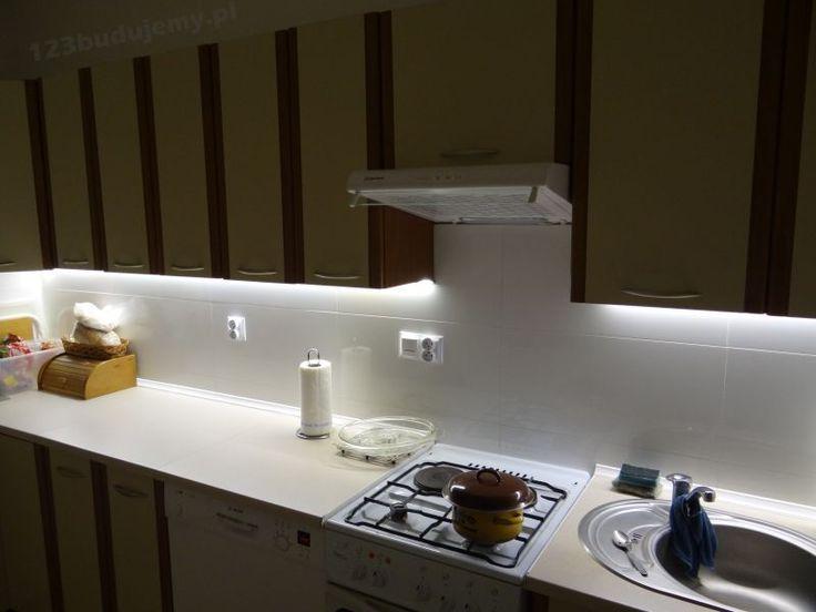 Oświetlenie blatu kuchennego - taśma led w profilu aluminiowym.123 Budujemy budowa domu