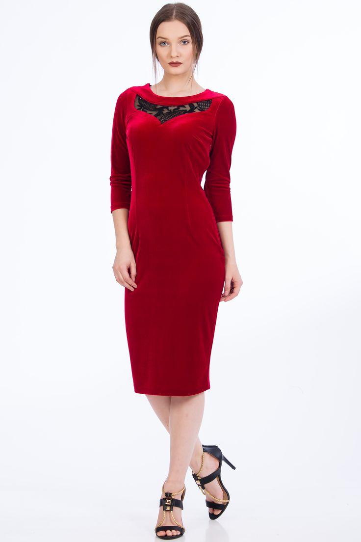 Rochie rosie din catifea. Rochii elegante/ Rochii de ocazie/ rochii din catifea/ rochii rosii/ rochii de craciun/ rochii de revelion
