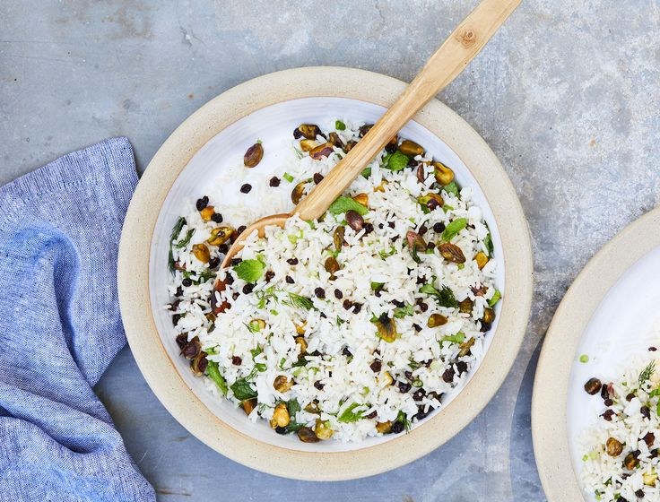This salad has a lot going on—fresh bright herbs, sweet-tart currants, crunchy salty pistachios, and toothsome basmati rice. It also happens to be easy to put together.