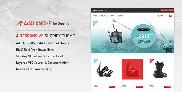 Avalanche - Responsive Shopify Theme & Template - Download Here : http://themeforest.net/item/avalanche-for-shopify-responsive-premium-theme/3563808?s_rank=148&ref=yinkira