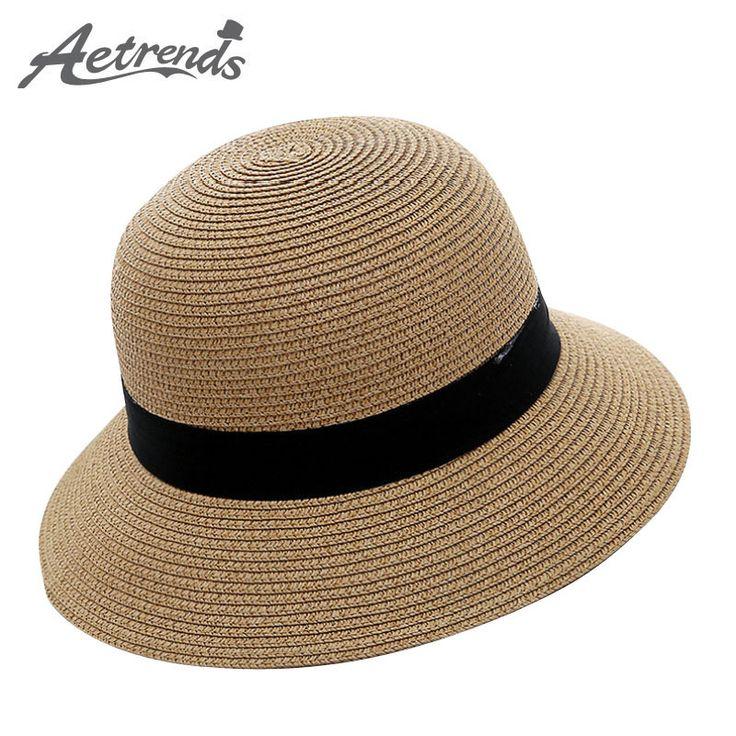 [AETRENDS] 2017 Summer Straw Hats for Women Sunshade Beach Cap Panama Bucket Caps Sun Hat Z-5122