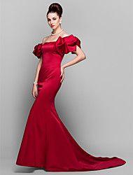 ts Couture® robe de soirée formelle, plus la taille / petite trompette / sirène off-the-épaule tribunal train satin