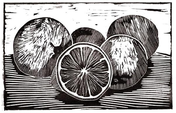 Lemons by Matteo Ferraro linoprint linocut