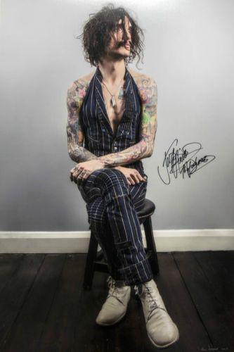 signed portrait of The Darkness' Justin Hawkins by Paul Heneker