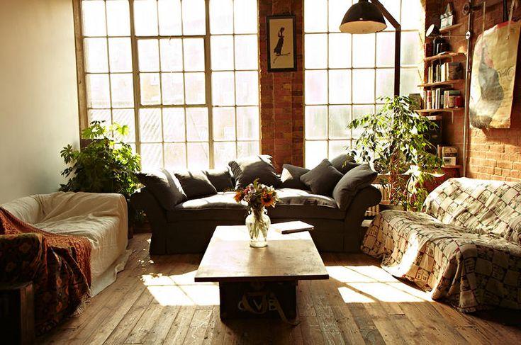 Comfortable loftExposed Bricks, Bricks Wall, Eating House, Interiors Design, Living Room, Eating Places, Loft Spaces, Expo Bricks, Design Blog