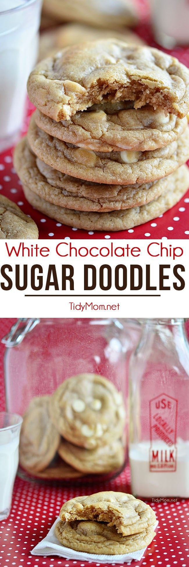 White Chocolate Chip Sugar Doodle Cookies are the perfect mashup of our favorite cookies; the buttery goodness of a sugar cookie with the chewy texture of a snickerdoodle. Sugar doodle cookie recipe at TidyMom.net