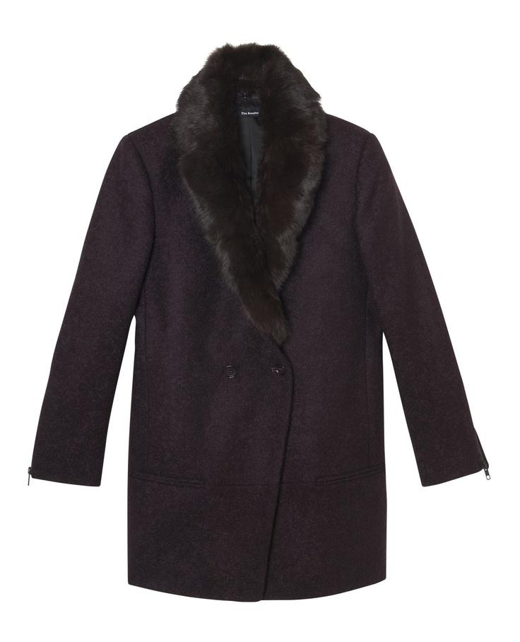 manteau bordeaux avec col en lapin manteau femme the kooples id e couture pinterest. Black Bedroom Furniture Sets. Home Design Ideas