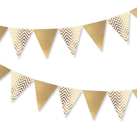 Deck the halls #htfstyle  Chevron gold bunting. Shop now at www.hardtofind.com.au