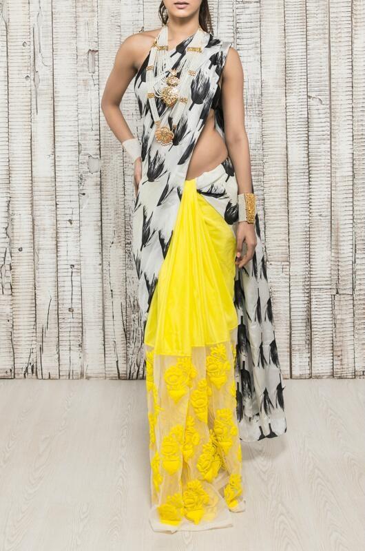 Tulip print embroidered saree