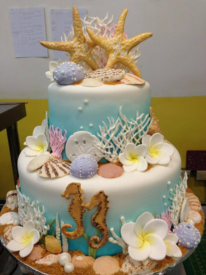 Island wedding cake, underwater theme galore, Sugarnomics Cake Studio Guam