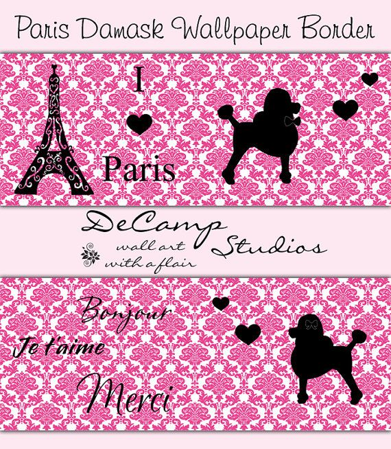 PARIS BEDROOM DECOR Wallpaper Border Decals Pink Poodle Damask Wall Art Girl  French Room Baby Nursery Childrens Kids Eiffel Tower Stickers