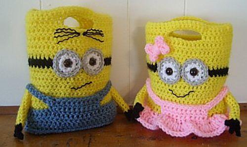 Crochet Minion Bag Pattern : Minion Purses Or Treat Bags pattern by Knotty Hooker ...