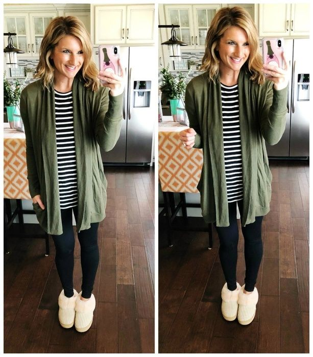 Loungewear // Striped Top + Olive Green Cardigan + Leggings + Slippers